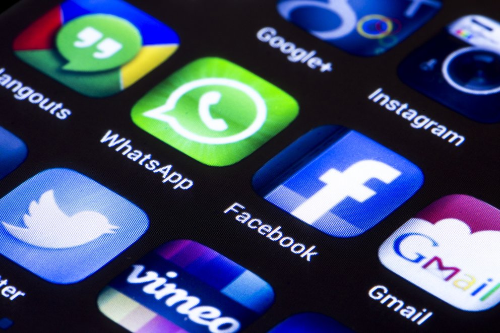 Social media icons whatsapp facebook and other on smart phone
