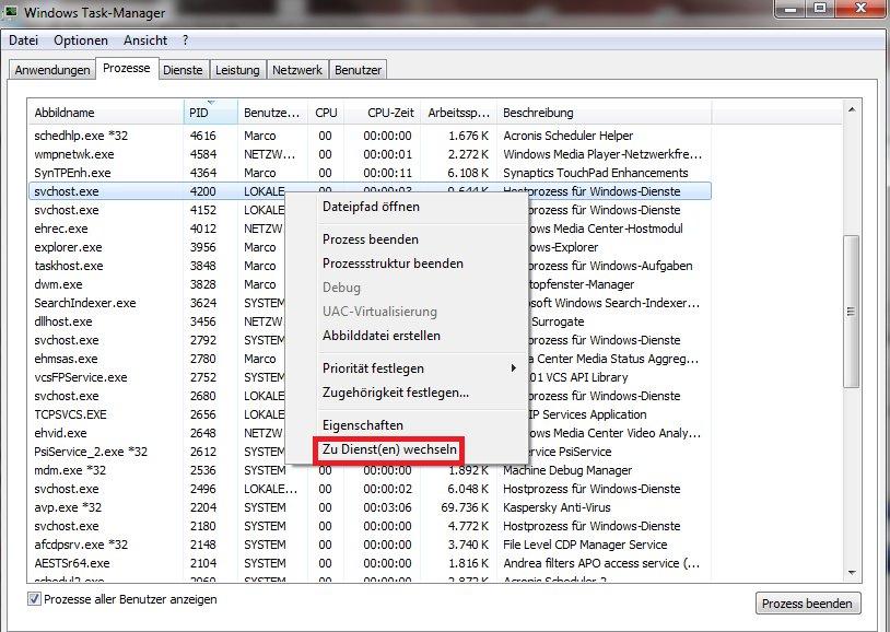 So könnt ihr die zugehörigen Dienste zu den Hostprozessen für Windows-Dienste anzeigen. Bildquelle: drwindows.de