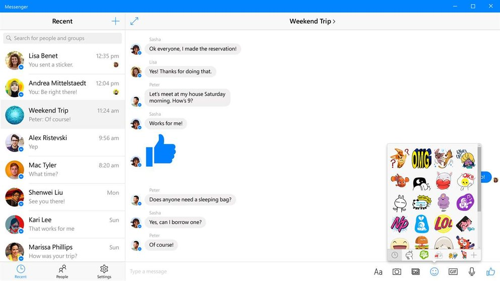Facebook Messenger PC Windows 10 UWP