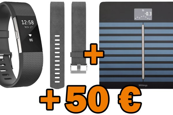 Fitbit Charge 2, Ersatz-Lederarmband, Withings Körperanalysewaage + 50 € Saturn-Coupon für 244 € (statt 278 €)</b>