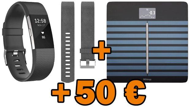 Fitbit Charge 2, Ersatz-Lederarmband, Withings Körperanalysewaage + 50 € Saturn-Coupon für 244 € (statt 278 €)