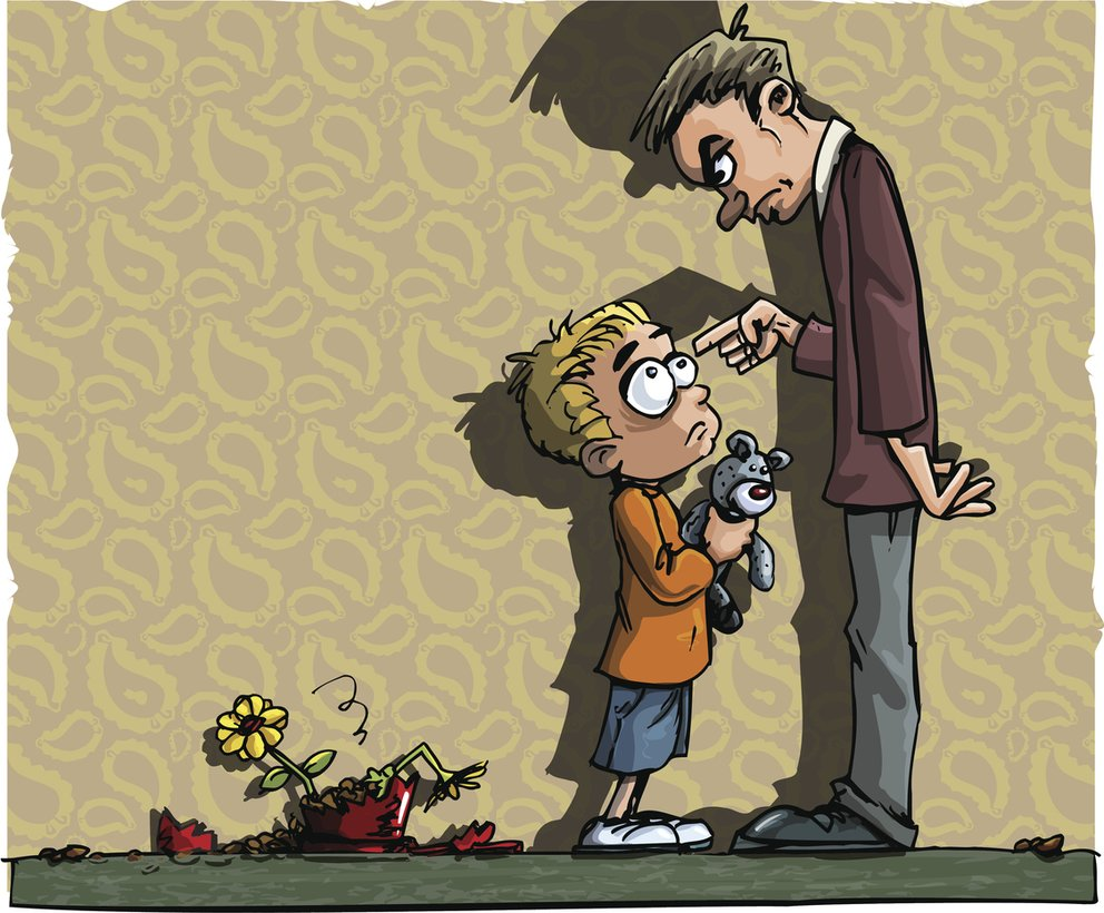 Cartoon of boy scolded by his dad