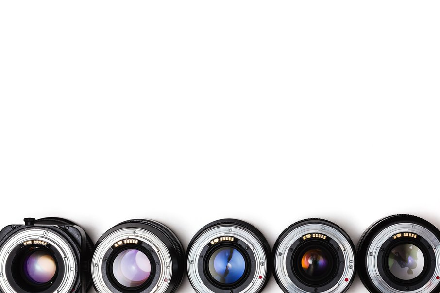 Expensive photographic lenses. The dream of every professional photographer