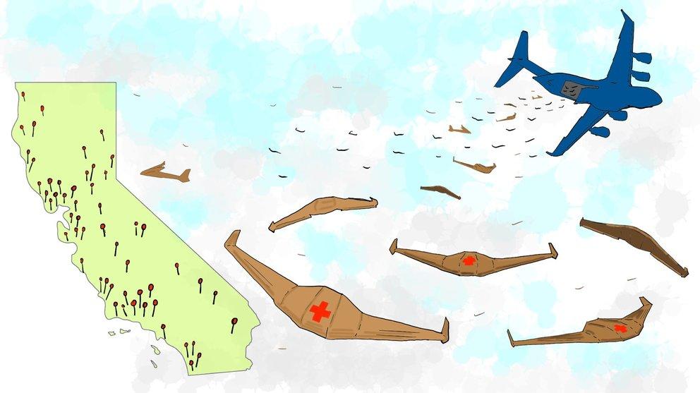 APSARA wird vom Flugzeug ausgesetzt, fliegt an ihr Ziel und verrottet dann am Boden (Quelle: Otherlab)