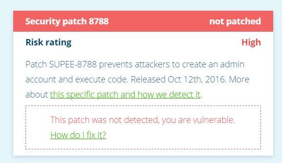 So sieht eine Warnung bei Magereport aus, die zeigt, dass der Shop-Betreiber Sicherheitsupdates versäumt hat (Screenshot: MageReport)