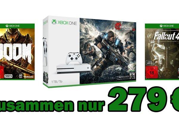 Mega-Deal:<b> Xbox One S mit 1 TB inklusive Gears of War 4, Doom und Fallout 4 für 279 €</b></b>