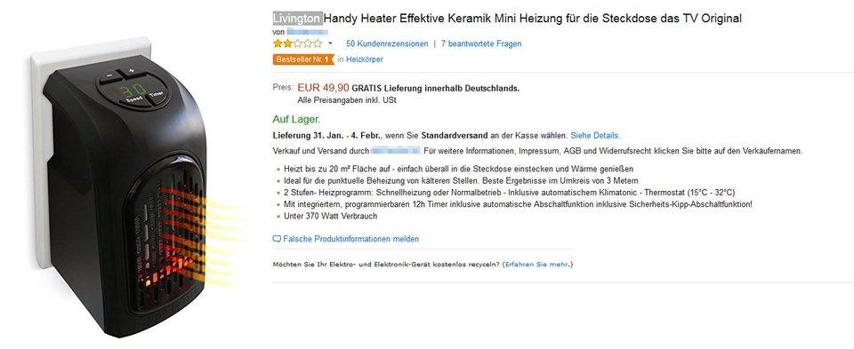 Mit dem Handy Heater ist die Mehrheit der Käufer bislang nicht zufrieden. (Stand: Januar 2017).