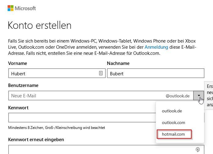 e mail passwort ändern hotmail