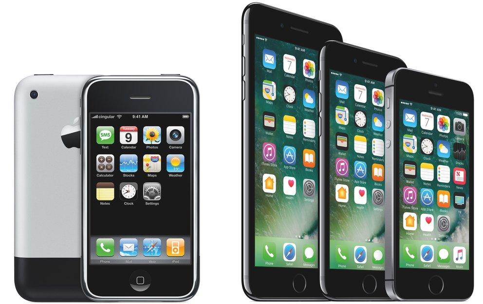 Das iPhone 1. Generation und die aktuellen 7er-Modelle. Bild: Apple