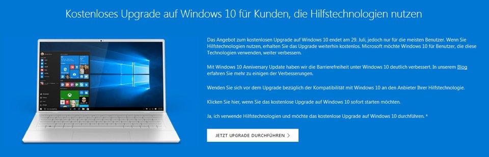 Über ein spezielles Tool könnt ihr Windows 10 weiterhin kostenlos installieren. Quelle: Microsoft