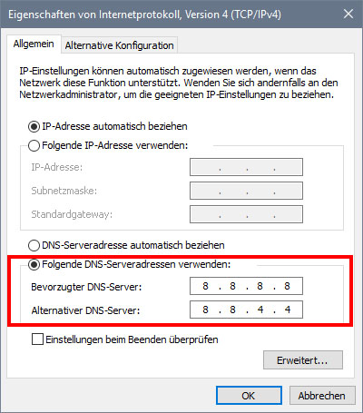 nicht MIT dohazování server verbunden