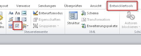 word-checkbox-entwicklertools