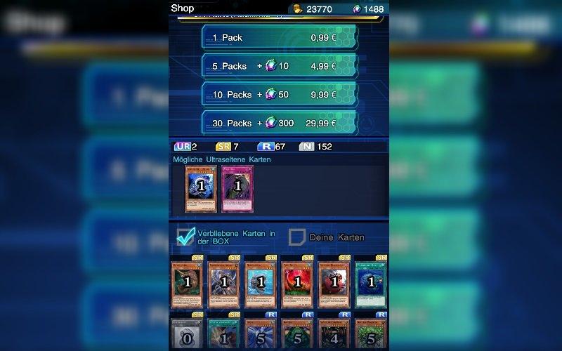 Scrollt nach unten, um alle Karten in dem jeweiligen Booster-Pack sehen zu können.