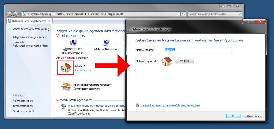 Hier ändert ihr den Netzwerknamen in Windows 7 und 8.