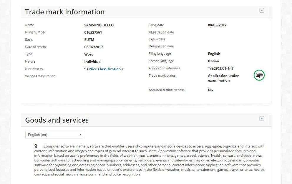 Eintrag SAMSUNG HELLO beim Amt der Europäischen Union für Geistiges Eigentum (Screenshot: EUIPO)