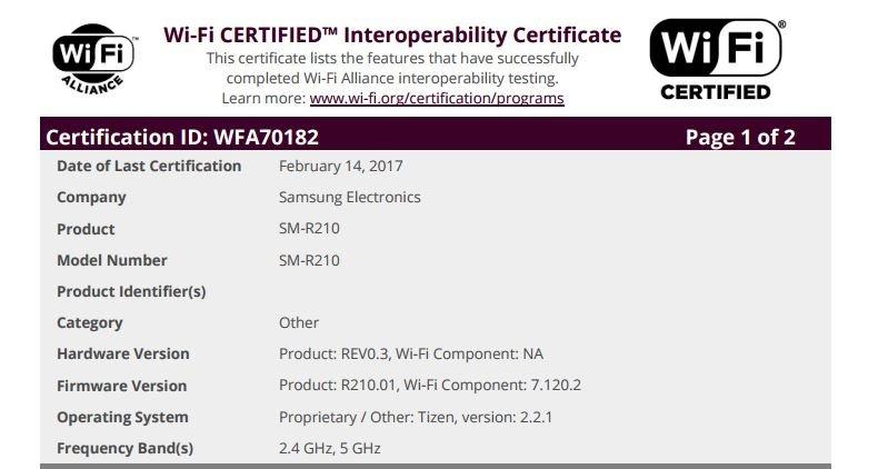 """Zertifikat der Wi-Fi Alliance für Samsung """"SM-R210"""" (Quelle: Wi-Fi Alliance)"""