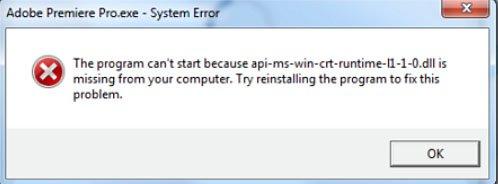 Fehlermeldung in Windows: Die Datei api-ms-win-crt-runtime-l1-1-0.dll fehlt. Bildquelle: Adobe