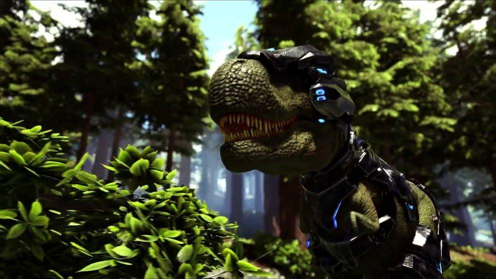 Der T-Rex hat kleine Laser in seinem Helm! Pewpewpew!