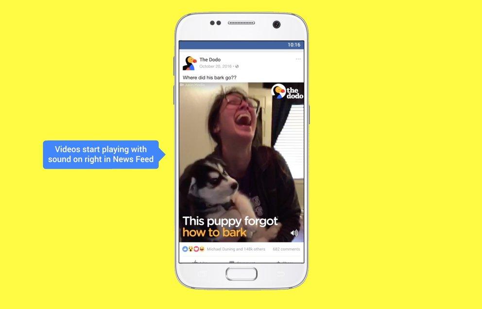 Videos starten in der Facebook App zukünftig mit aktivierter Tonspur. Das lässt sich aber manuell deaktivieren. (Quelle: Facebook)