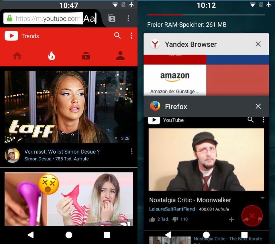 Die Firefox-App spielt YouTube-Videos auch im Hintergrund ab, wenn ihr zu einer anderen App wechselt.