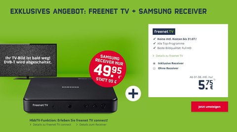 Freenet TV bis 31.07. kostenlos nutzen und Samsung-Receiver für 49,95 € statt 89,99 €