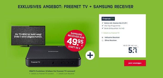 Freenet TV bis 31.07. kostenlos nutzen und Samsung-Receiver für 49,95 € statt 89,99 €</b>