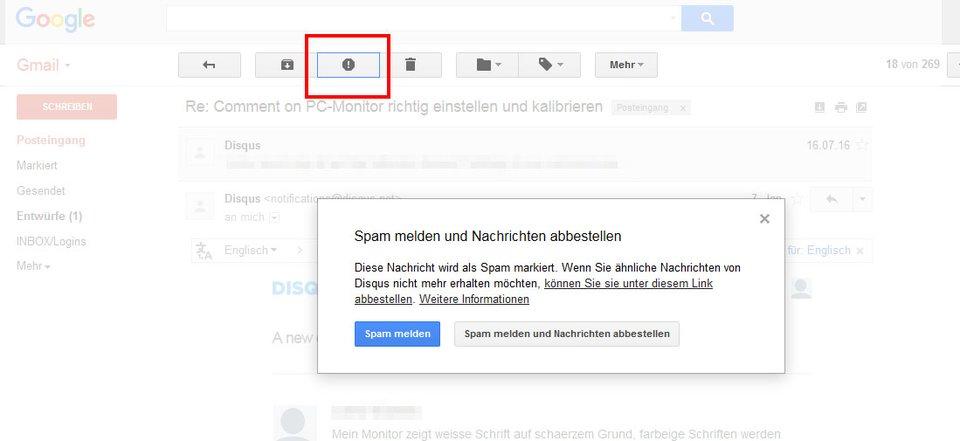 Gmail zeigt euch über den Button an, wie ihr diese Art von Nachrichten abbestellen könnt.