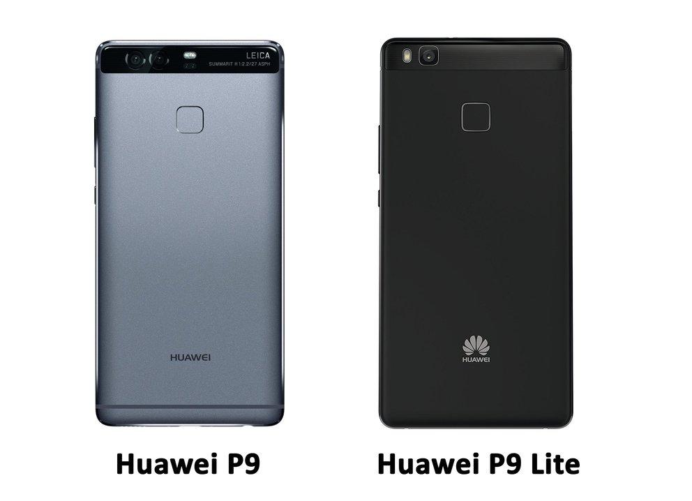 Rückansicht: P9 in Titanium-Grau, P9 Lite in Schwarz.