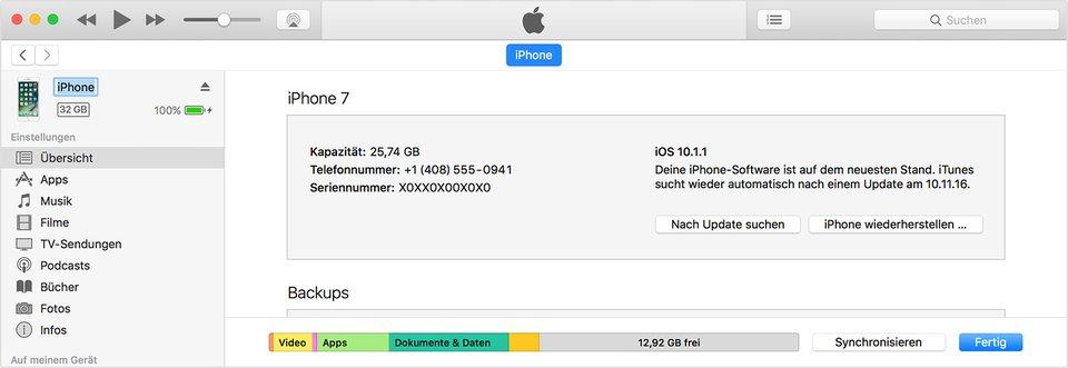 Hier ändert ihr den Namen eures Geräts in iTunes. Bildquelle: Apple