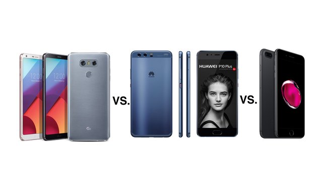 LG G6 vs. Huawei P10 Plus vs. iPhone 7 Plus: Display-Giganten im Vergleich