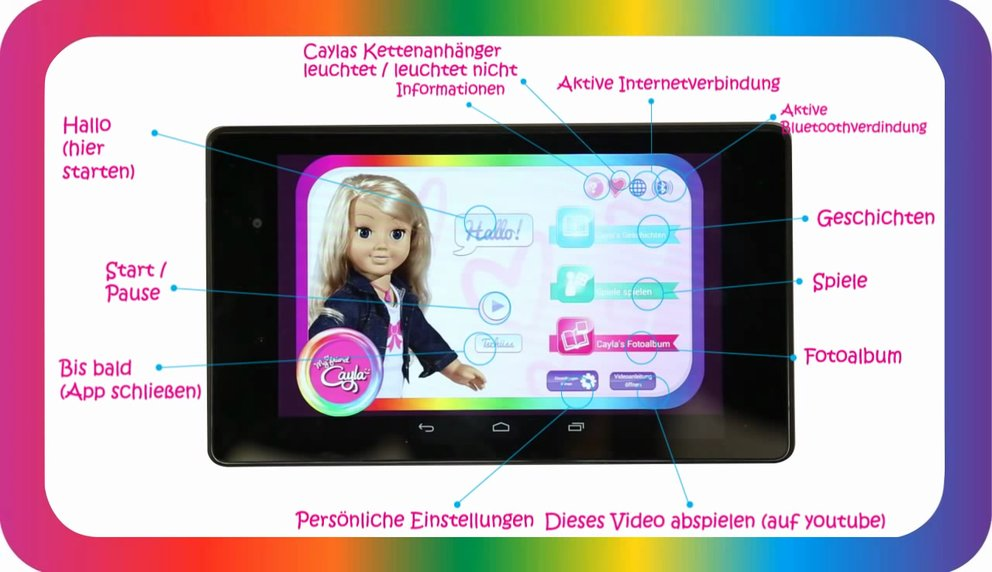 "Die smarte Puppe ""My friend Cayla"" wird per App gesteuert (Quelle: Screenshot Youtube / Vivid)"