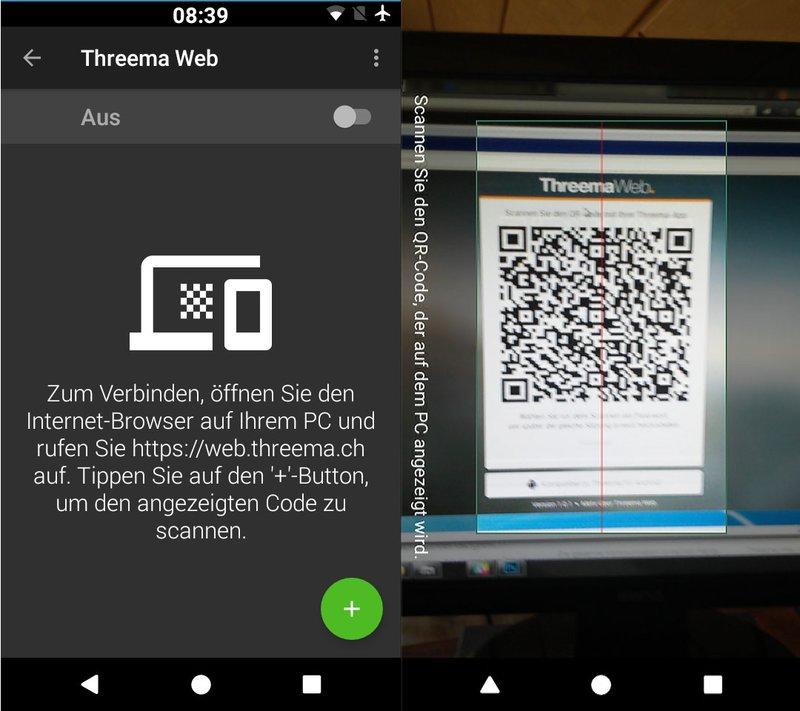 Hier scannt ihr den QR-Code ein, um Threema Web am PC zu starten.