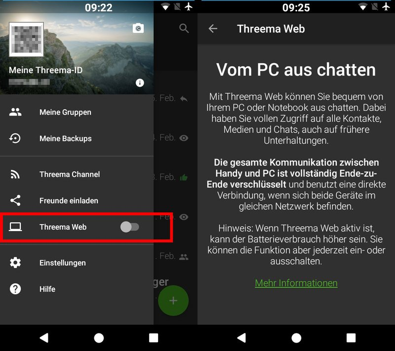 Hier aktiviert ihr Threema Web am Smartphone.