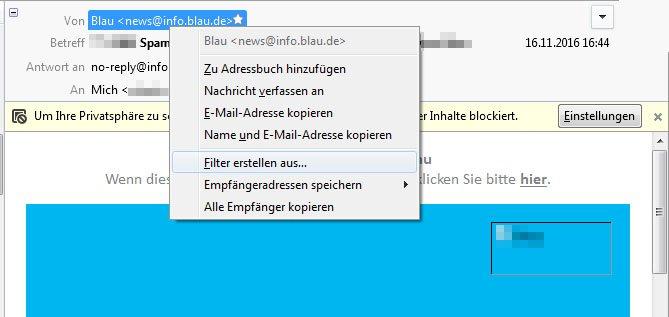 Wählt diese Option, um Mails des Absenders herauszufiltern.