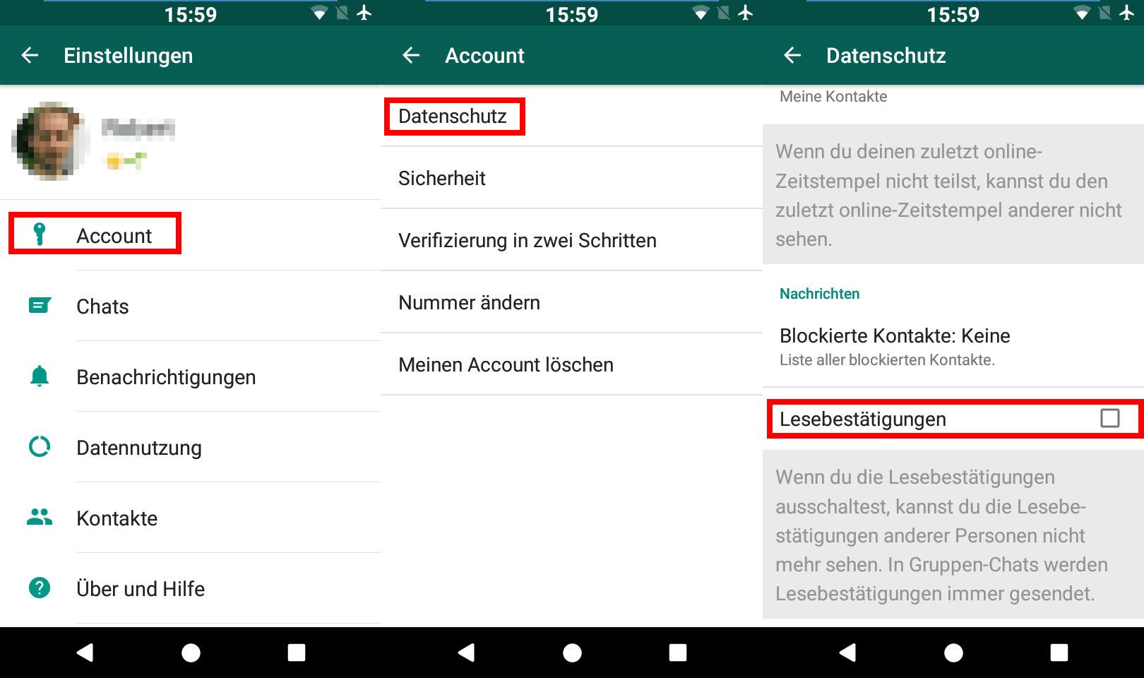 whatsapp gelesen status ausschalten iphone