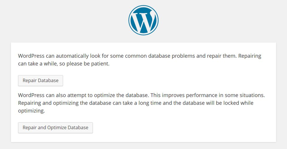 Beide Optionen reparieren die WordPress-Datenbank.