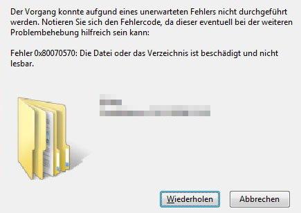Fehler 0x80070570 beim Kopieren in Windows.