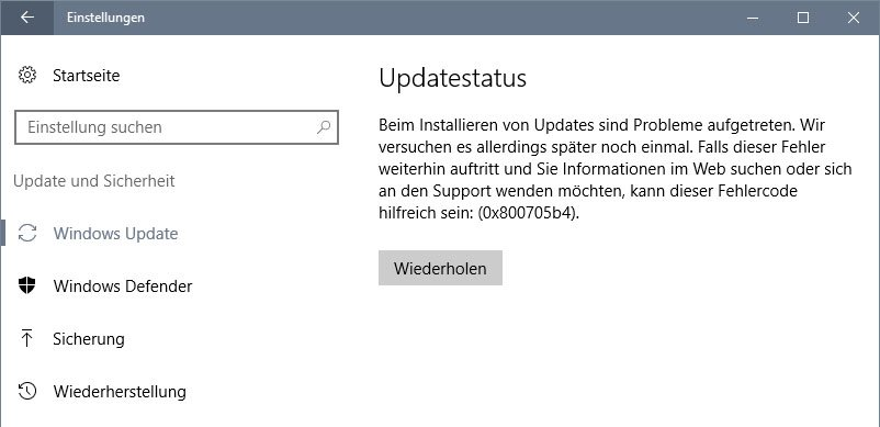 Der Fehler 0x800705b4 in Windows 10.