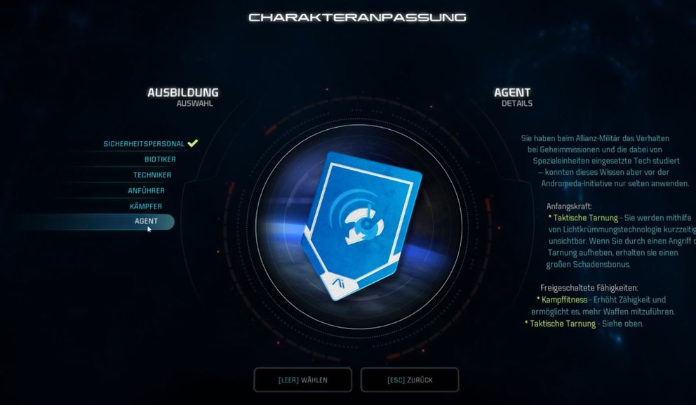 Mass Effect Andromeda Agent Klasse