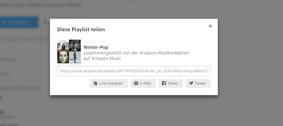 Amazon Playlist teilen
