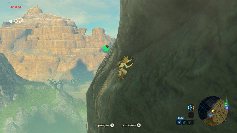 Link versucht einen Berg zu erklimmen