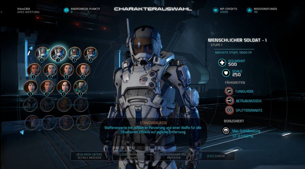 Mass Effect Andromeda Standardklassen