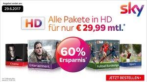 Mega Sky-Angebot: Alle Pakete in HD inkl. gratis Sky+ HD-Receiver für 29,99 € pro Monat (statt 76,99 €)