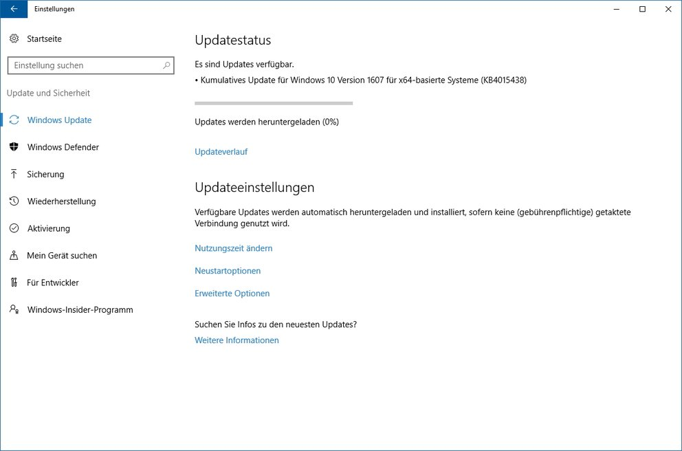 Windows 10 Kumulatives Update KB4015438
