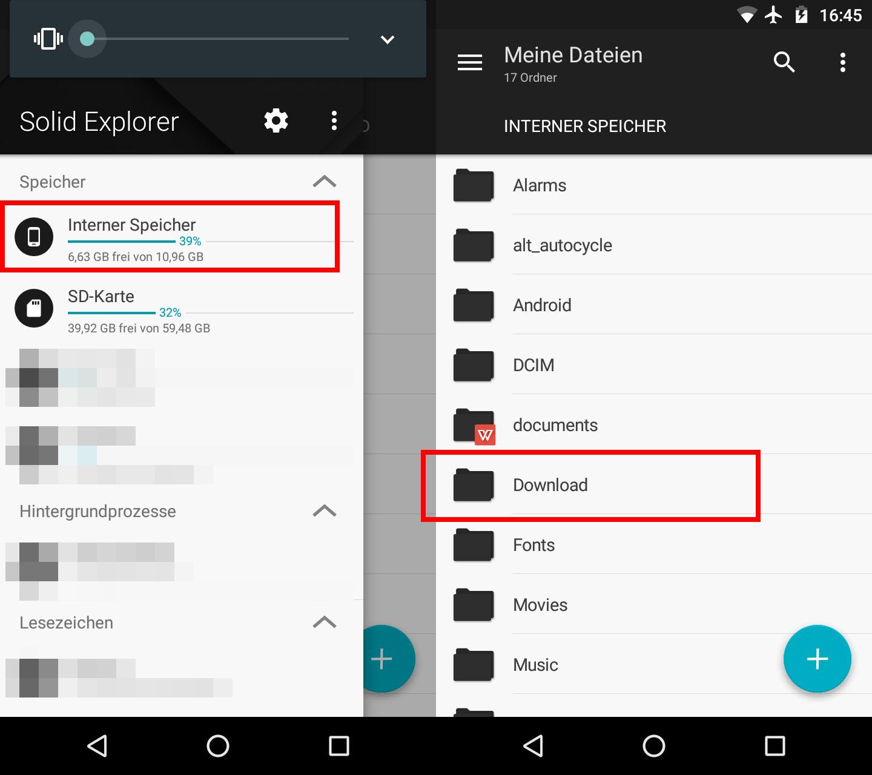 Android Download Ordner Finden