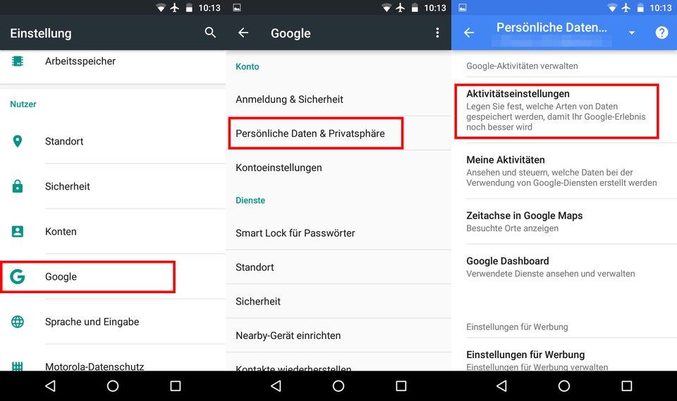 Android: Navigiert durch diese Punkte.