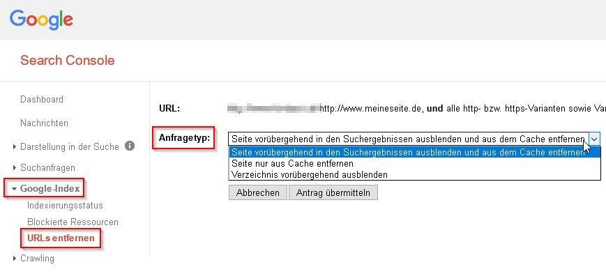 google-cache-entfernen