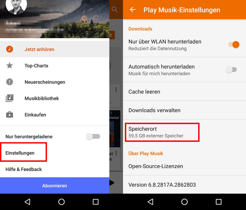 6c795e17a7 Google Play Music: Hier könnt ihr den Speicherort der heruntergeladenen  MP3-Dateien einstellen.