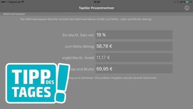 App-Tipp: Prozentrechner für iPhone & iPad