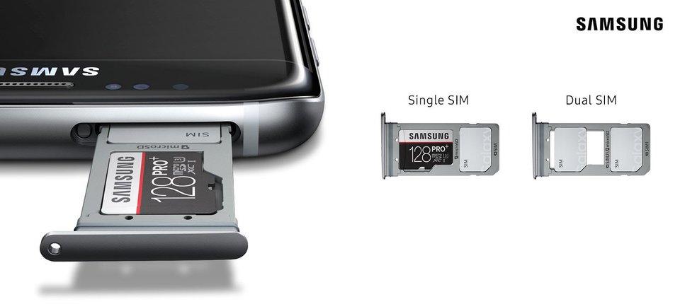 Das Samsung Galaxy S8+ Duos kann entweder eine SD-Karte und eine SIM oder zwei SIM-Karten nutzen. Bildquelle: Samsung
